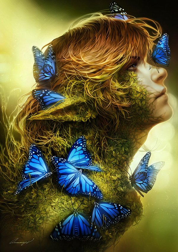 Fantasy Butterfly Blue Elf Fairy Brown Hair Eyes Original Wallpaper 1440x2036 618956