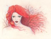 pencil girl painting drawing autumn