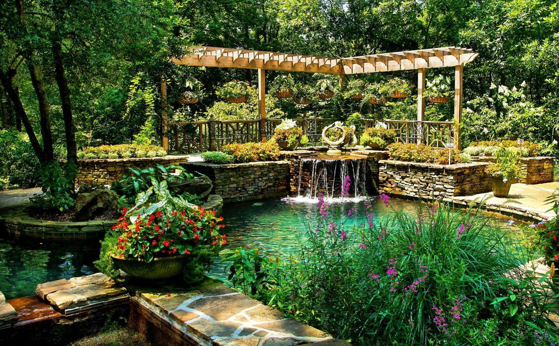 Windows 10 Fall Usa Wallpapers 4k Usa Park Pond Waterfall Ball Ground Gibbs Garden Nature