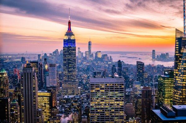 York Usa Manhattan Empire State Building Skyscrapers Buildings Lights Sky
