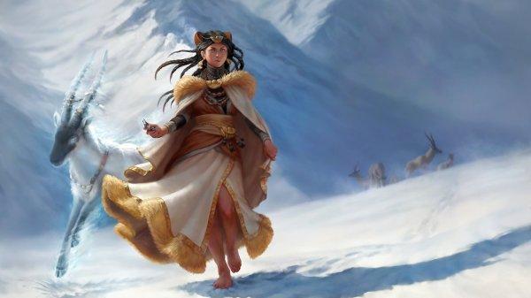Fantasy Goat Mountain Animals Horns Girl Snow Art Wallpaper 1920x1080 650264 Wallpaperup