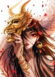anime fantasy girl mask demon petals
