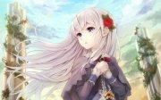 anime girl long hair rose beautiful