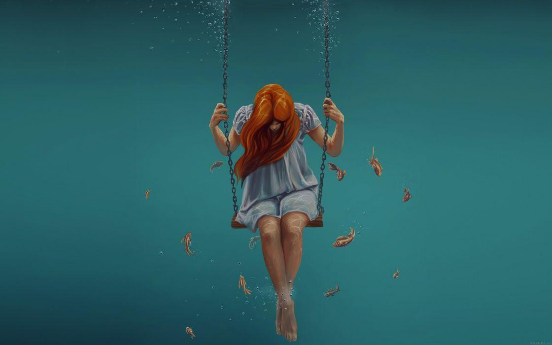 Anime Girl Wallpaper Swing Art Painting Girl Dark Dress Beauty Fish Wallpaper