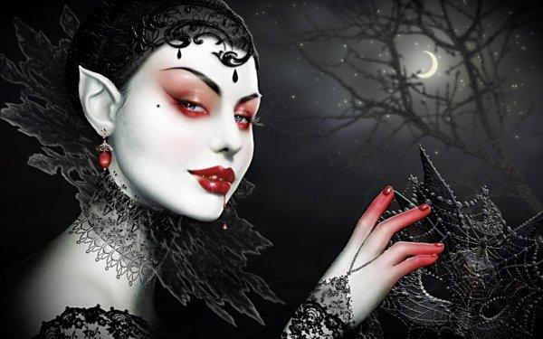 Dark Gothic Female Vampire Art