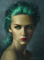 fantasy girl woman portrait green