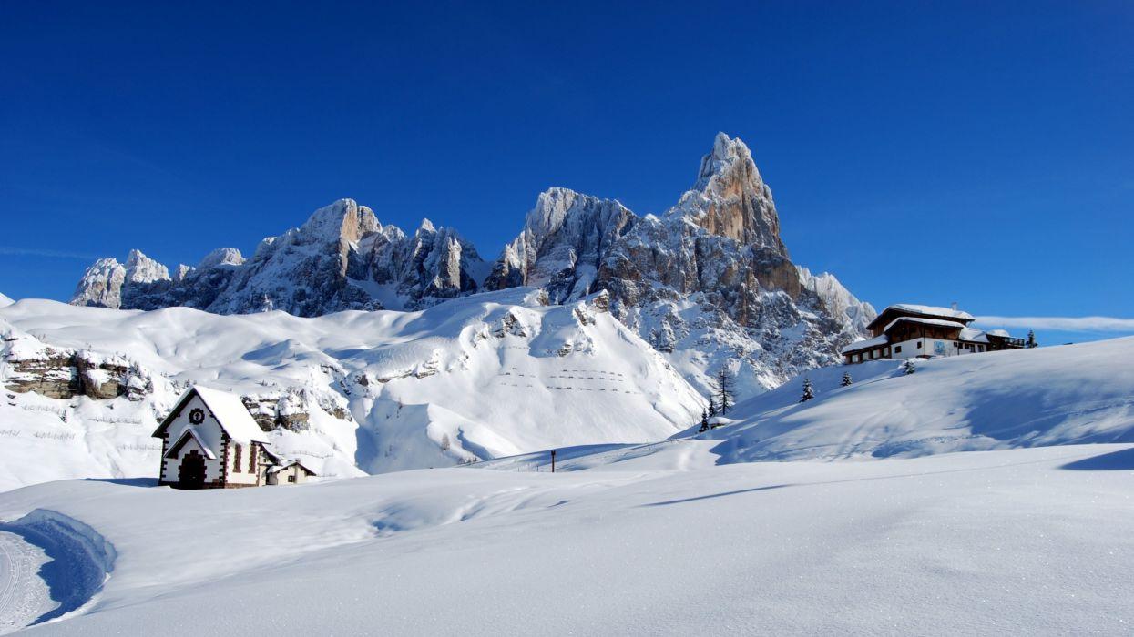 Dolomites Alps Italy Winter Snow Wallpaper 3840x2160
