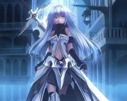 anime girl white hair and blue