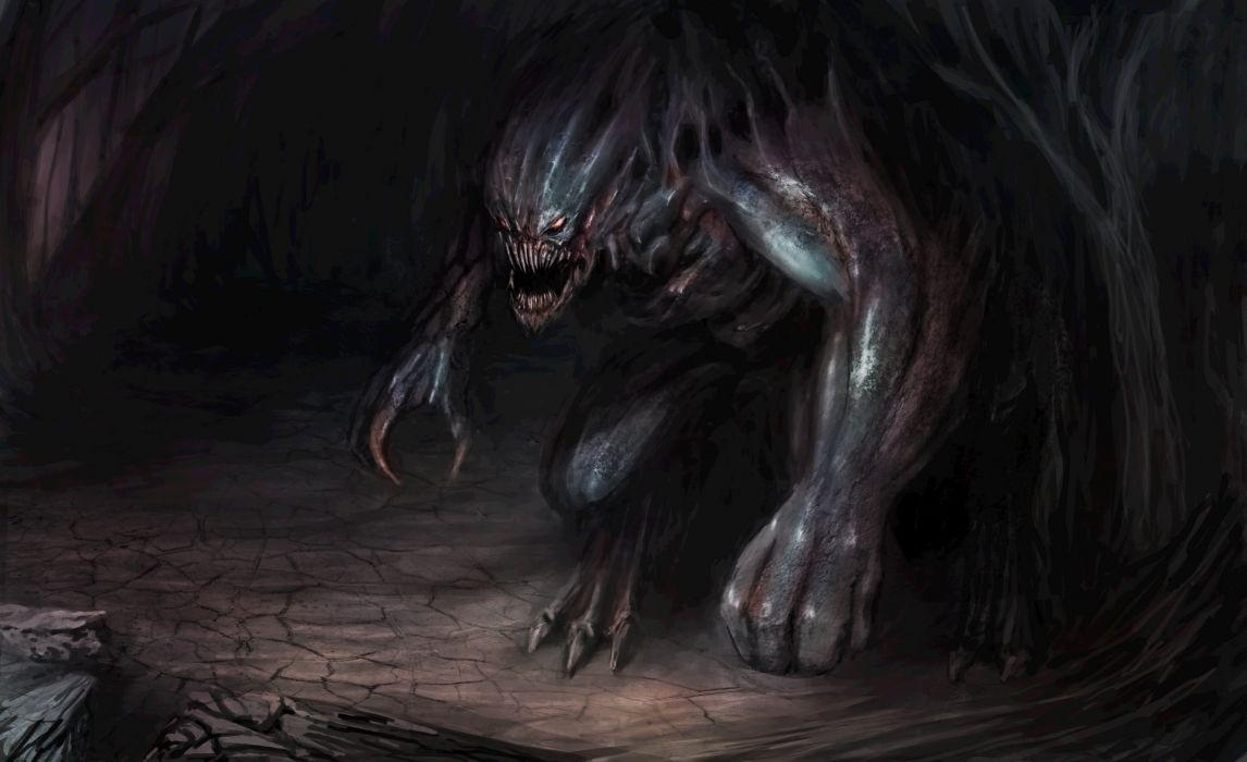 Hooded Goth Girl Wallpaper Monster Demon Creature Dark Fantasy Wallpaper 5400x3300