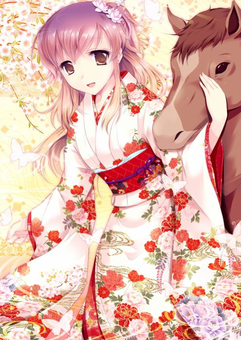 Falling Snow Live Wallpaper Iphone Anime Girl Cute Long Hair Dress Horse Kimono Flower