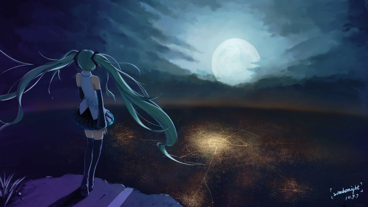 Alone And Sad Girl Hd Wallpaper Anime Character Series Beautiful Girl Vocaloid Moon Sky