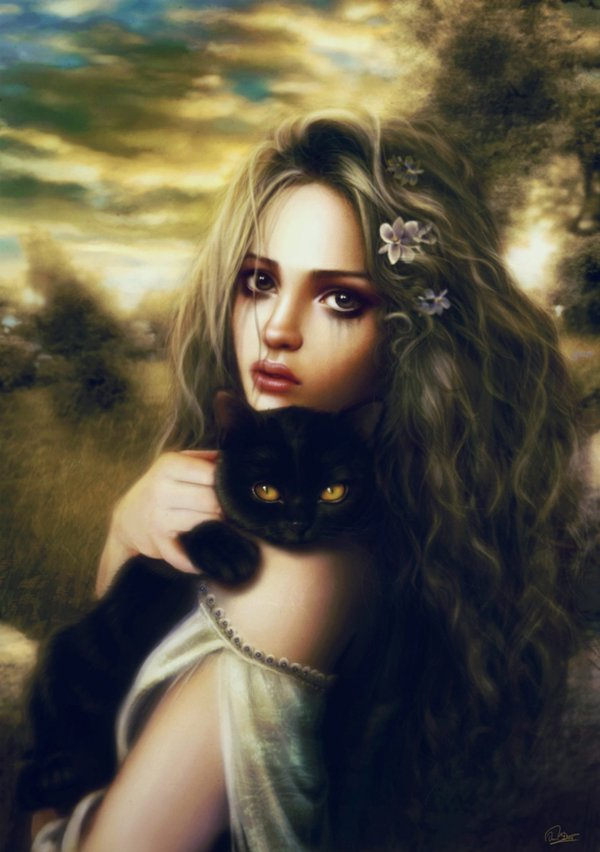 2d Realism Portrait Cat Witch Woman Girl Beautiful Fantasy