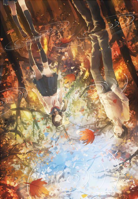 Rainy Fall Day Wallpaper Leaves Water Rain Couple Anime Girl Guy Autumn Wallpaper