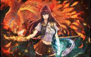 anime girl fire sword animal bird