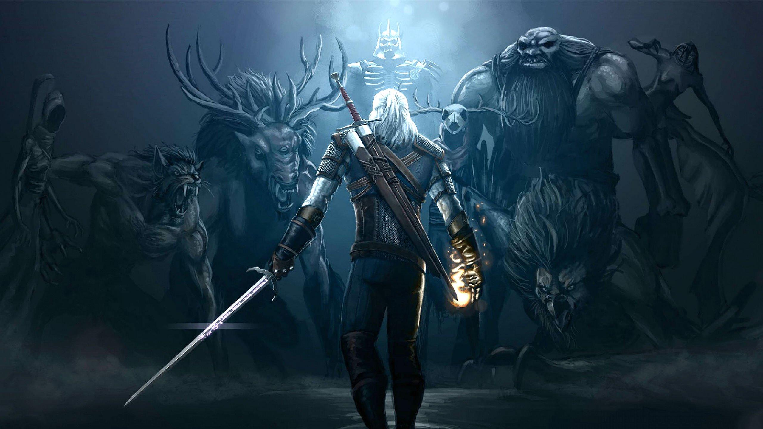 Monster Hunter Girl Wallpaper 1440 Witcher 3 Wild Hunt Fantasy Action Fighting Warrior Dark