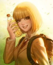 anime girl beautiful beverage blonde