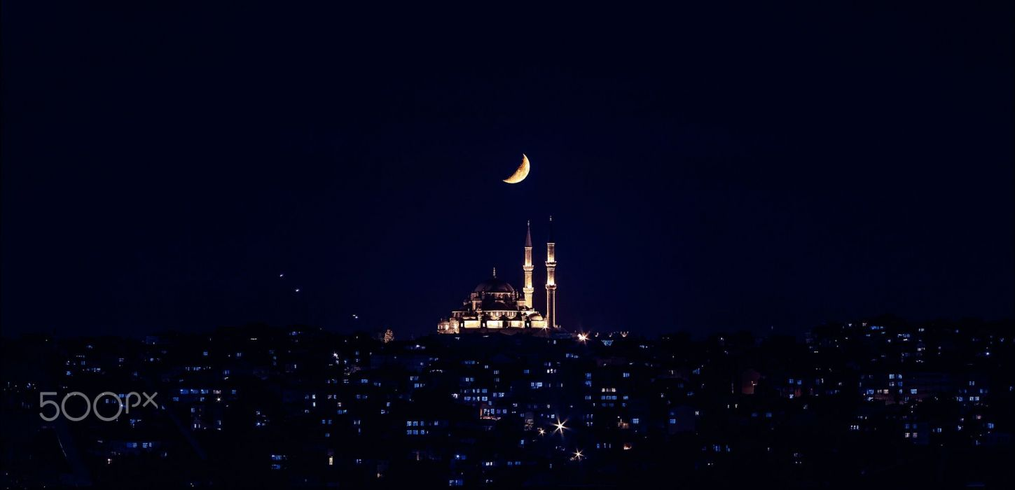 Amazing Islamic Wallpapers With Quotes Crescent Moon Night Sky Turkey Istanbul Landscape Mosque
