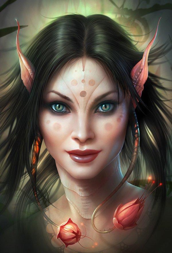 Fantasy Girl Beautiful Blue Eyes Face Magic Fairy