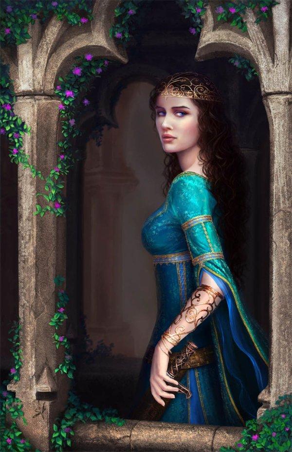 Fantasy Girl Beautiful Long Hair Blue Dress Wallpaper