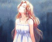 rain anime girl long hair beauty