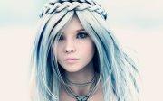 anime girl blue long hair