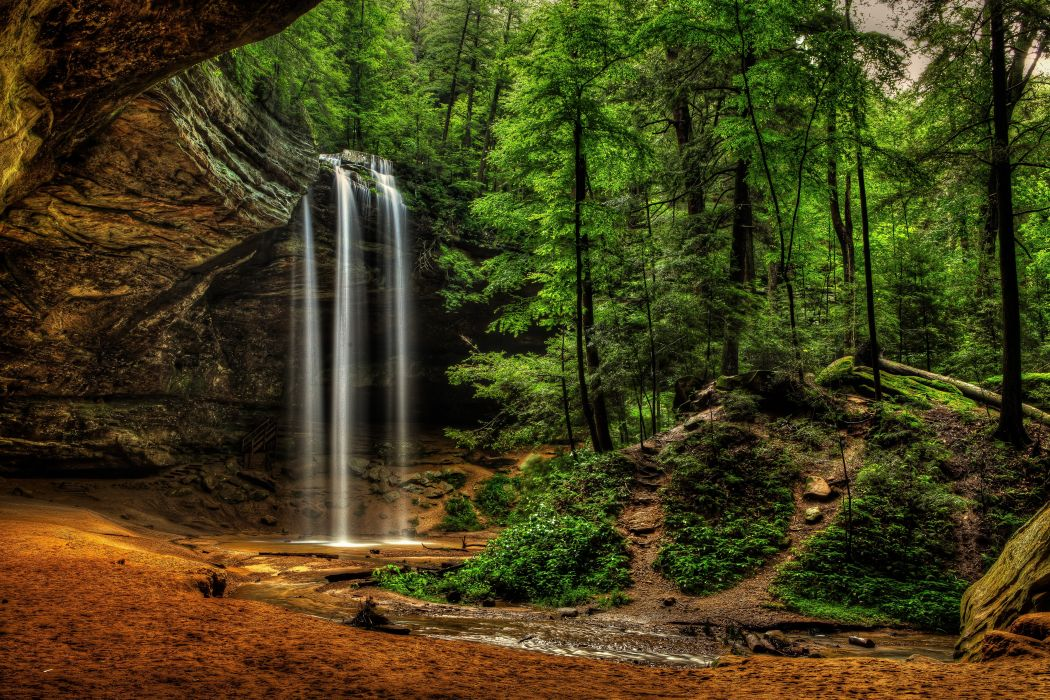 Fall Scenery Desktop Wallpapers Usa Waterfalls Crag Ash Cave Ohio Hocking Hills State Park
