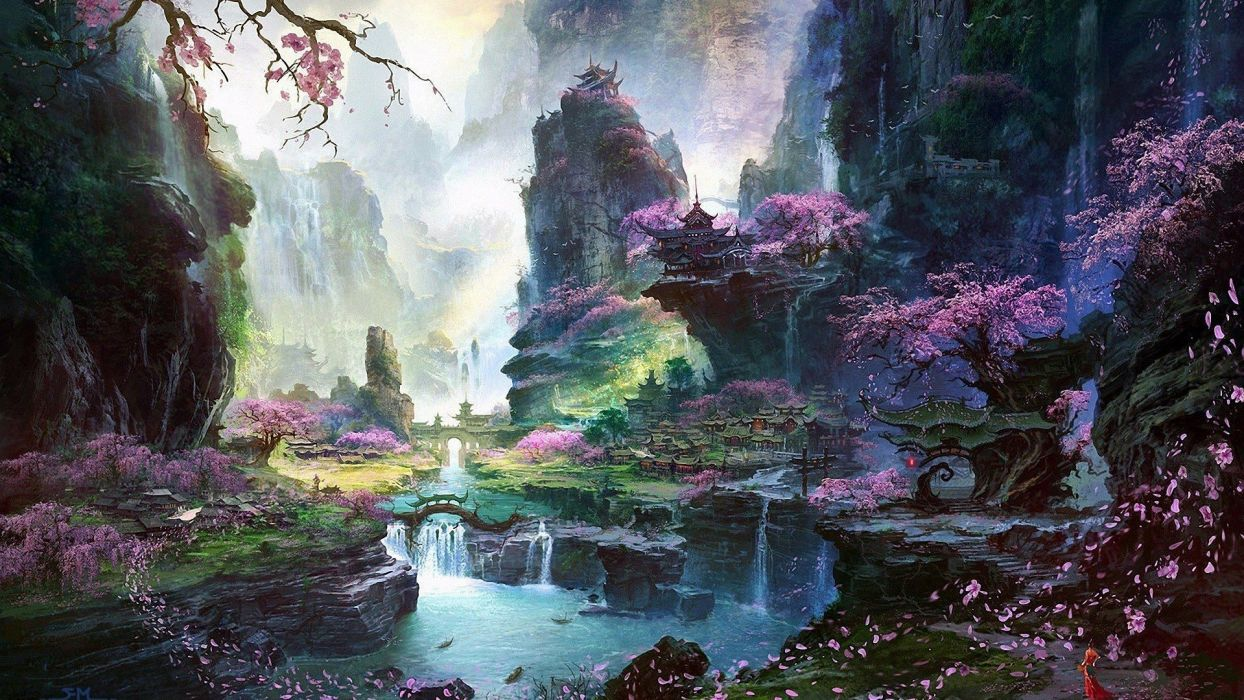 Drops Wallpaper Hd Landscape Fantasy Art Cherry Blossom Digital Art Asian
