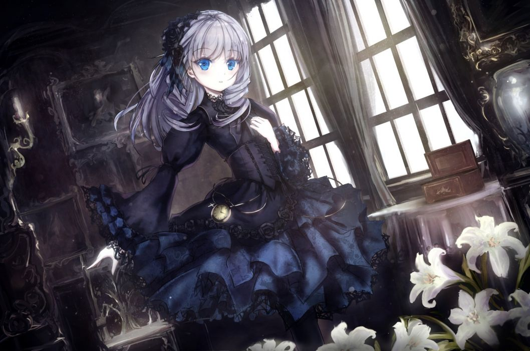 Goth Anime Girls Wallpapers Anime Girl Gothic Loli White Hair Blue Eyes Flowers