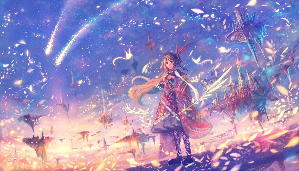 Mythical Creatures In The Fall Wallpaper Anime Girl Fantasy World Petals Floating Island Wallpaper