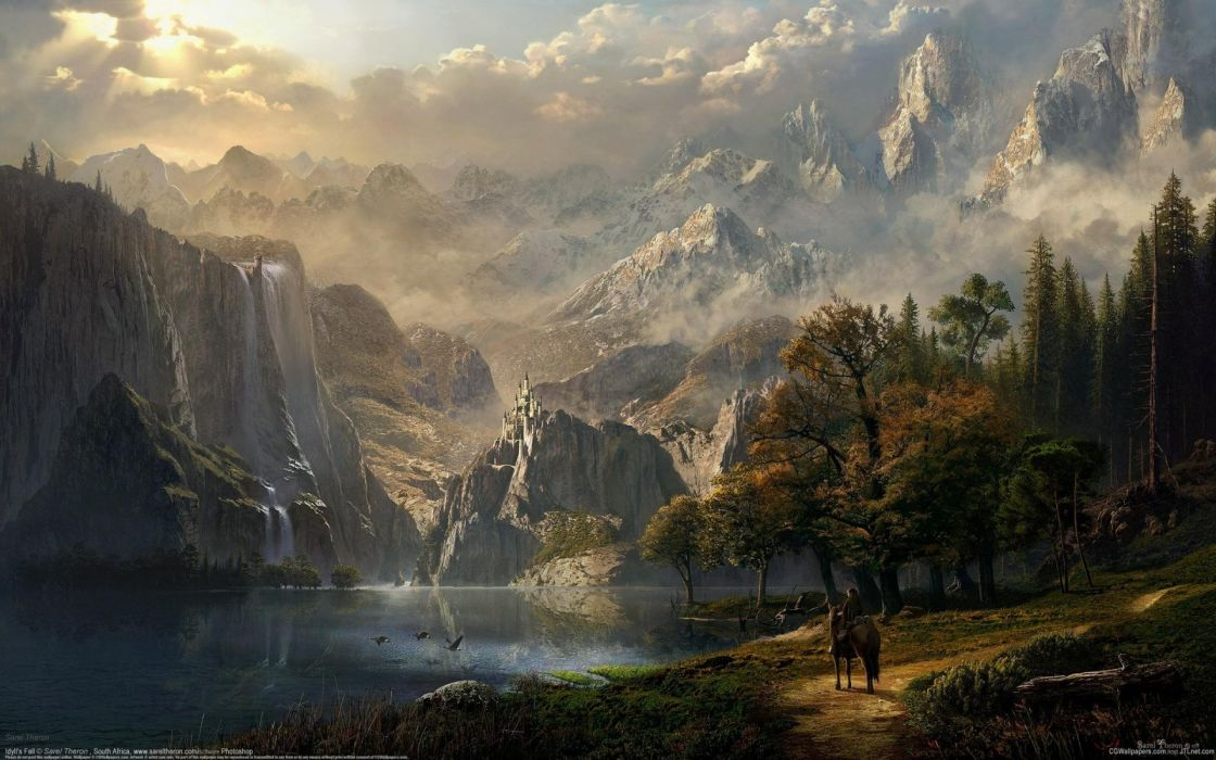 Fall Leaves Desktop Wallpaper Cg Idyll S Fall Sarel Theron Fantasy Castle Lake Mountain