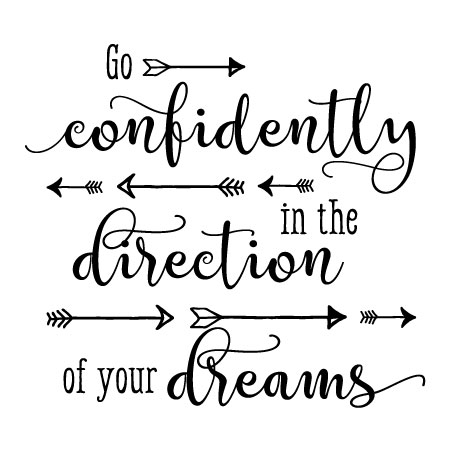 Go Confidently Scripty Arrows Wall Quotes™ Decal