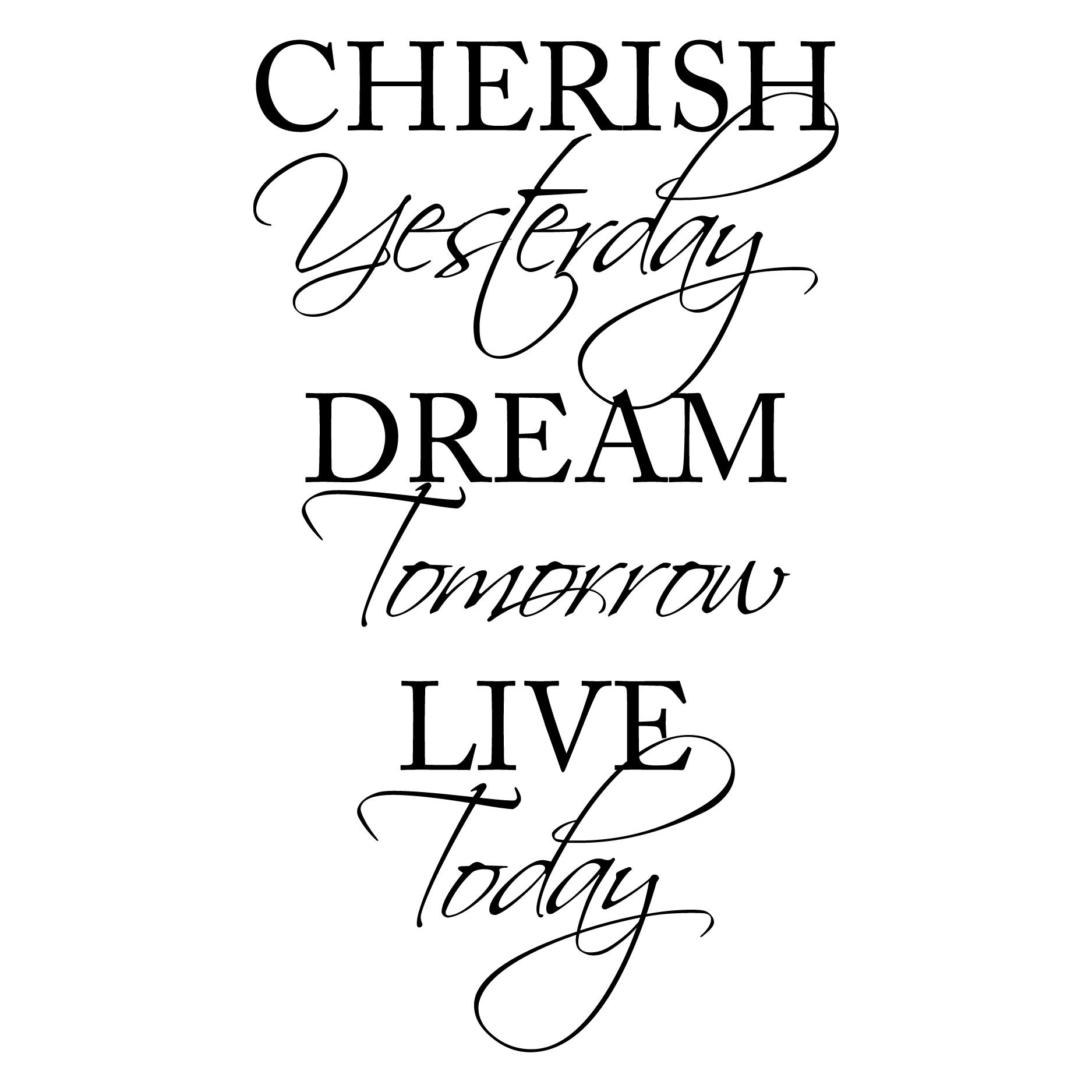 Cherish Yesterday Dream Tomorrow Live Today Wall Quotes