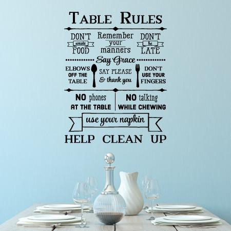 Table Rules Wall Quotes Decal  WallQuotescom