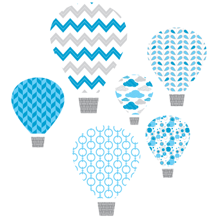 Blue Hot Air Balloons Textstyles Canvas Wall Decal