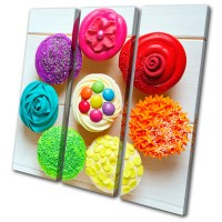 Food Kitchen Cupcakes Colour Treble Canvas Wall Art ...