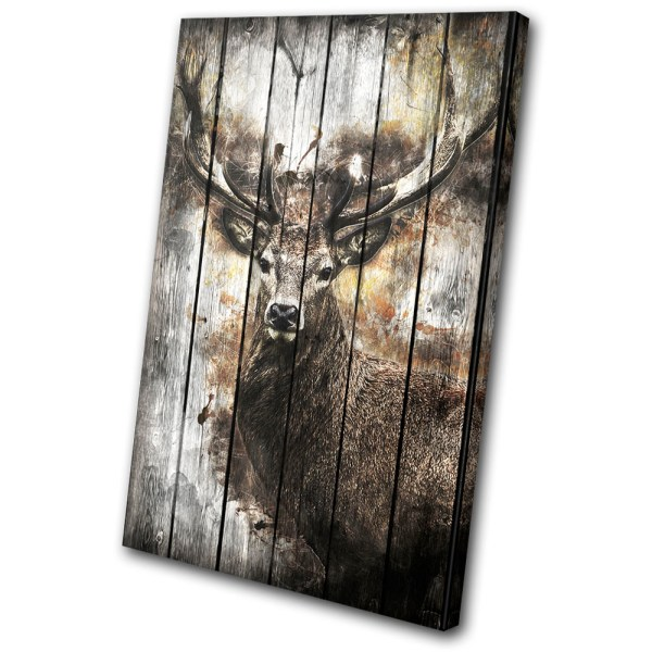 Deer Stag Forest Shabby Chic Vintage Single Canvas Wall Art Print