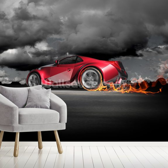 In a guest room, a green and aqua striped robert hoven wall treatment complements a rainbow striped doug and gene meyer rug. Sports Car Burnout Wallpaper Wallsauce Us