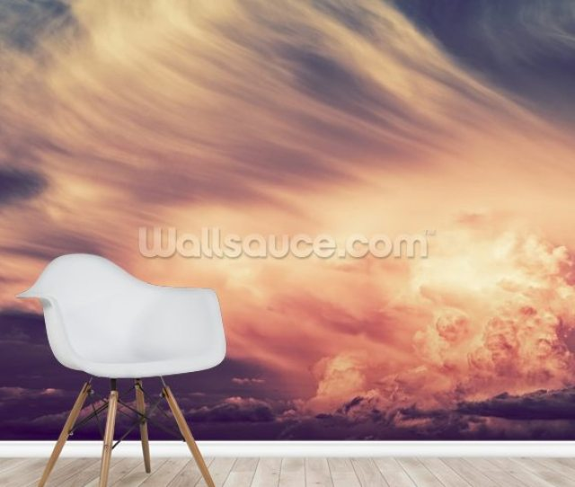 Scenic Sunset Storm Mural Wallpaper Room Setting