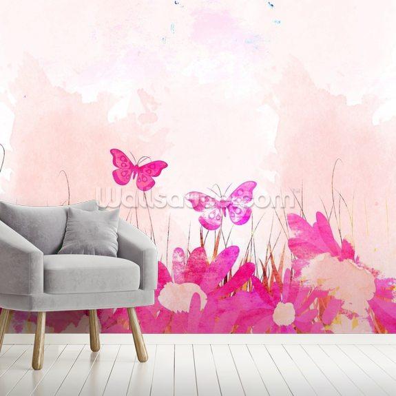 carta da parati farfalle collezione: Carta Da Parati Con Le Farfalle Rosa Wallsauce It