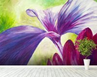 Abstract Painting of Pink and Purple Flowers Wall Mural ...