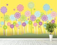 Pastel Flowers Nursery Wallpaper Wall Mural   Wallsauce