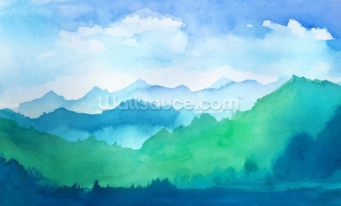 Watercolor Mountains Wallpaper  Wallsauce UK