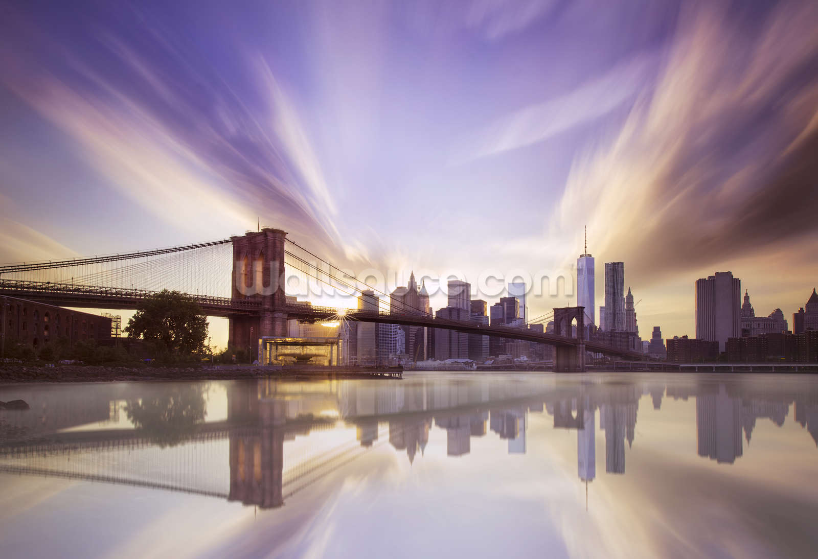 Brooklyn Bridge Sunset Wallpaper Mural Wallsauce UK