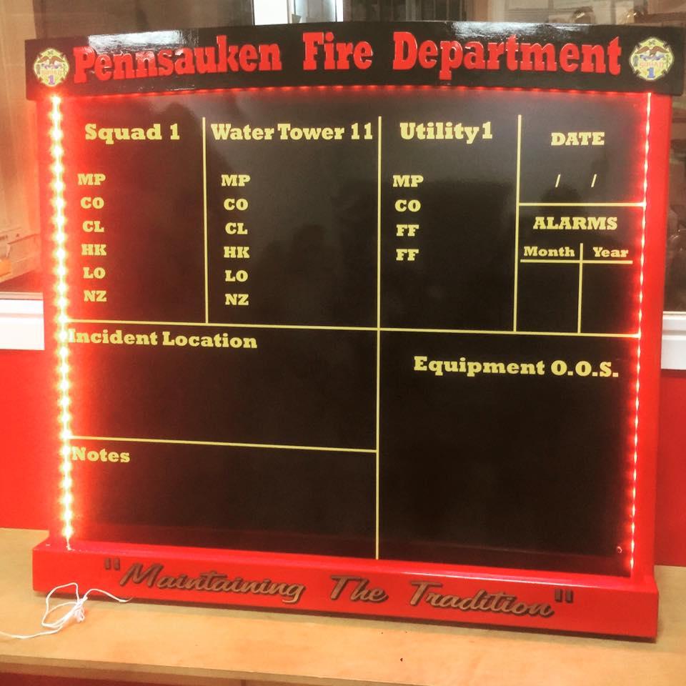 Pennsauken Fire Department Riding Assignment Board  Wall