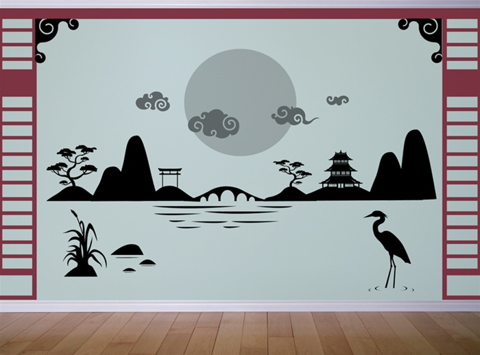 Japanese Asian Landscape Scene wall decal sticker