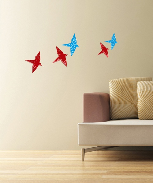 living room ideas cream and grey decor modern origami bird wall decals stickers