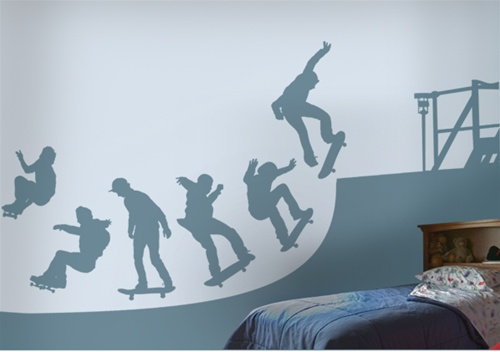 modern french living room decor ideas christmas decorations for small skate halfpipe wall decals stickers