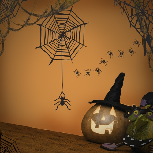 Spider Web Wall Decal Sticker Set