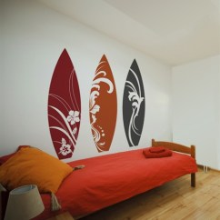 Modern Black Living Room Decor For Small Apartment Surfboard Wall Decals Stickers