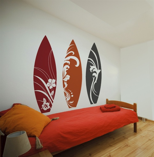 lime green and brown living room ideas small colour pictures surfboard wall decals stickers